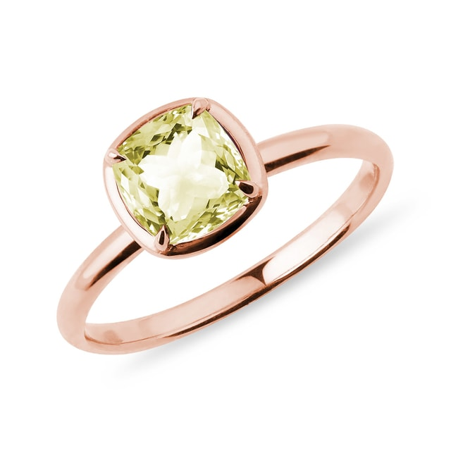 Zitronenquarz Ring in Roségold