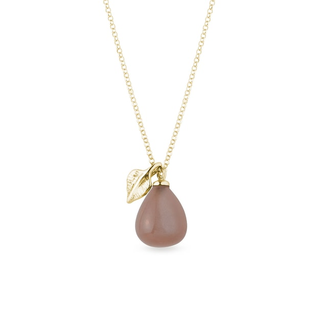 Brown moonstone and leaf necklace in yellow gold