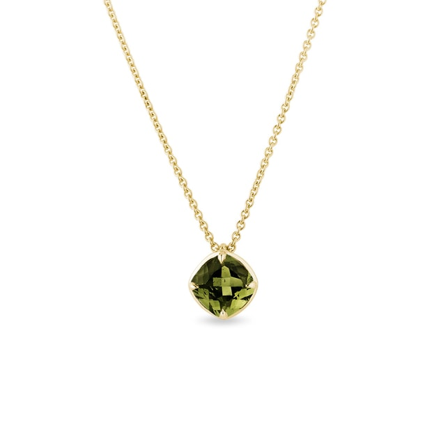 Moldavite necklace in yellow gold