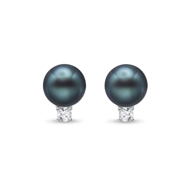 Tahitian pearl and diamond earrings in 14kt gold