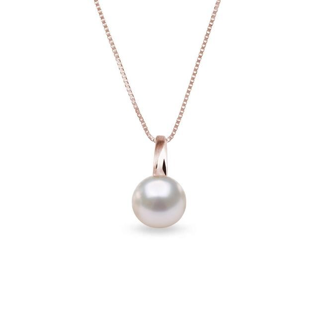 Akoya pearl necklace in rose gold