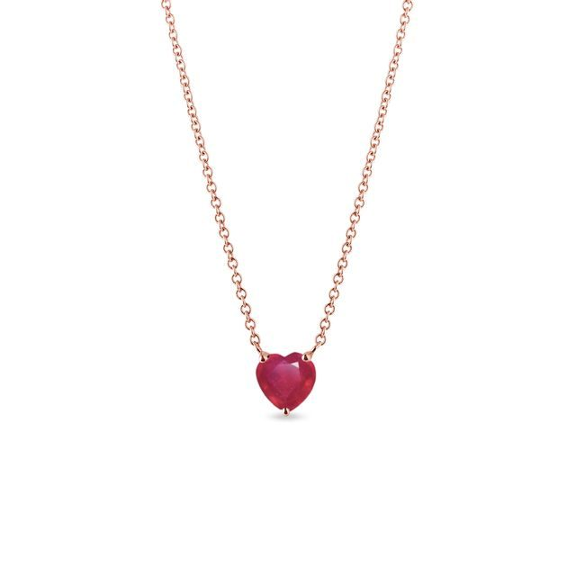Heart shaped ruby necklace in rose gold