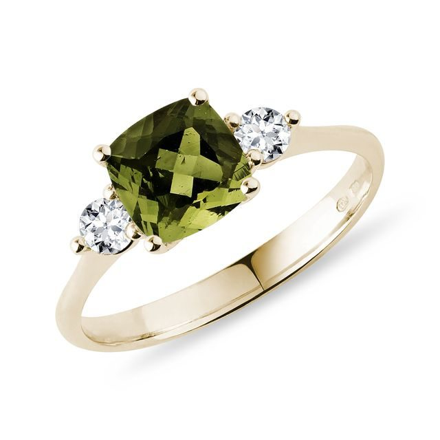 Cushion cut moldavite and diamond ring in gold