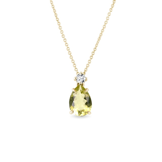Collier en or avec quartz Lemon et diamant