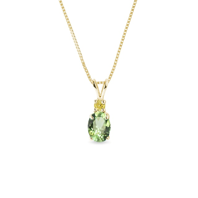 Tsavorite and yellow sapphire necklace in yellow gold