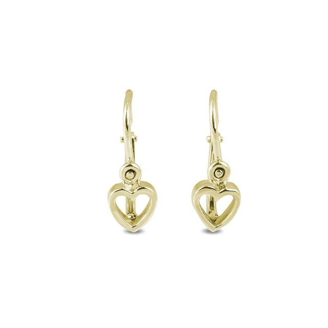 Heart earrings for children in 14kt gold