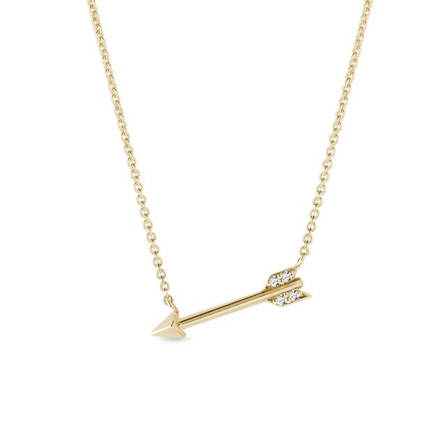 Arrow necklace with diamonds in 14k gold