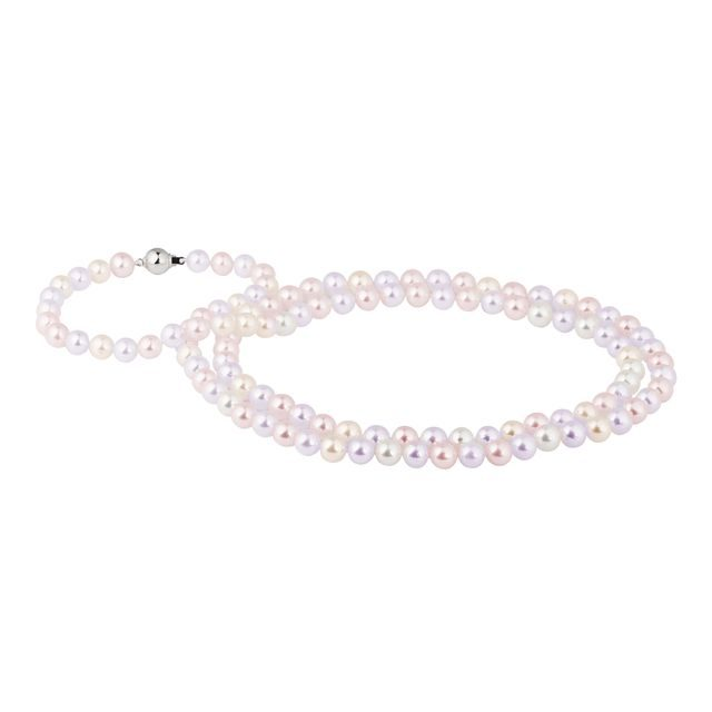 Pearl cord necklace with white gold clasp