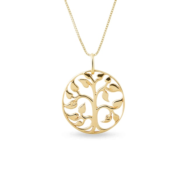 Tree of life necklace in yellow gold
