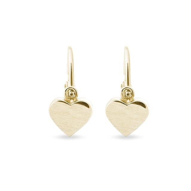 Children's heart-shaped earrings in gold