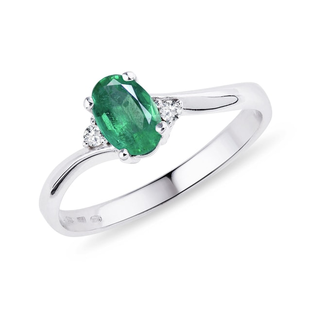 Emerald and diamond ring in sterling silver