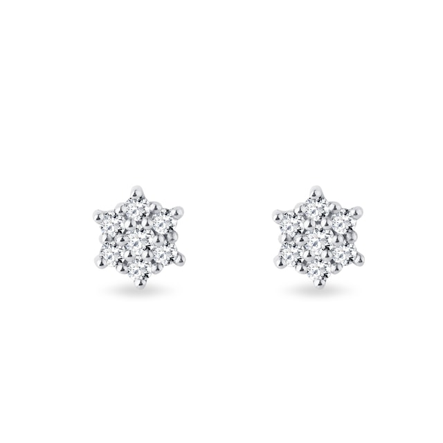 Diamond flower earrings in 14kt gold