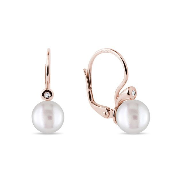 Pearl and diamond leverback earrings in rose gold