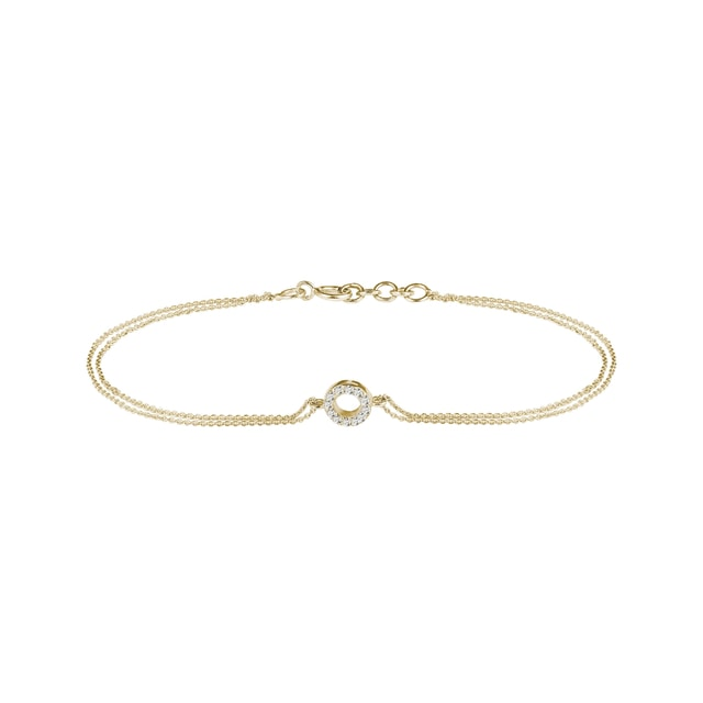 Circular diamond charm bracelet in yellow gold