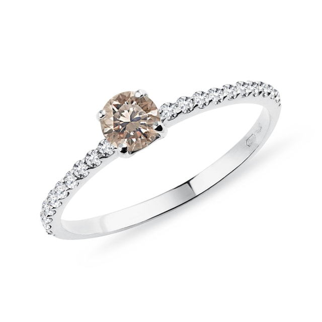 Champagne diamond ring with a diamond band in white gold