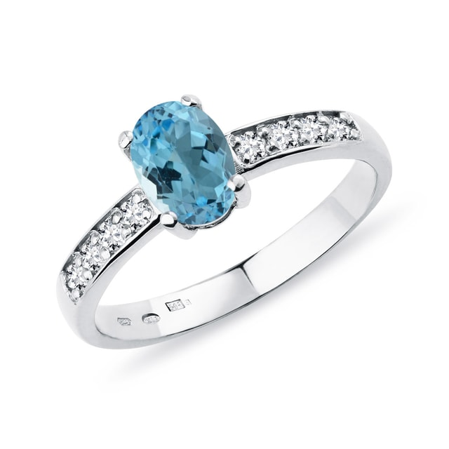 Topaz diamond ring in white gold