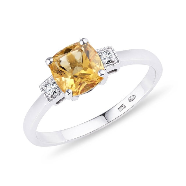 Citrine and diamond ring in silver