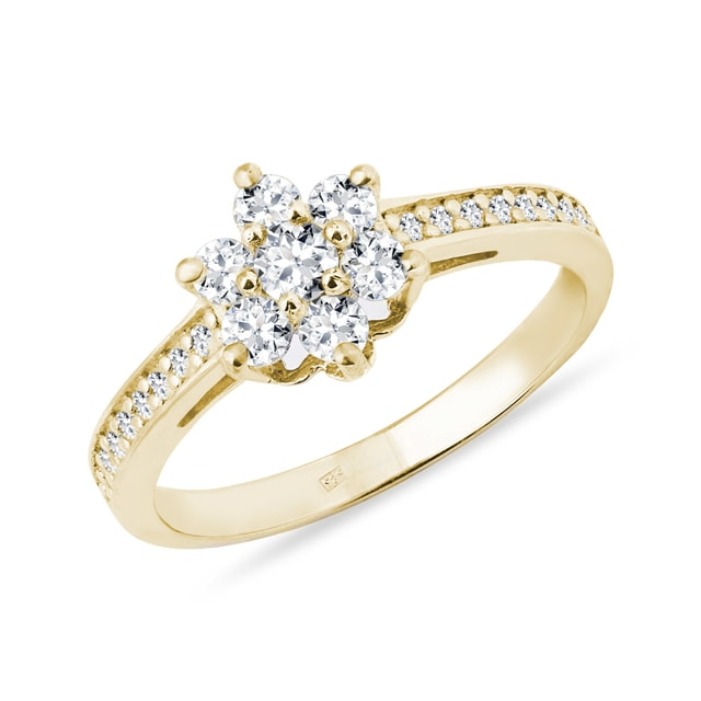 Diamond flower cluster ring in yellow gold