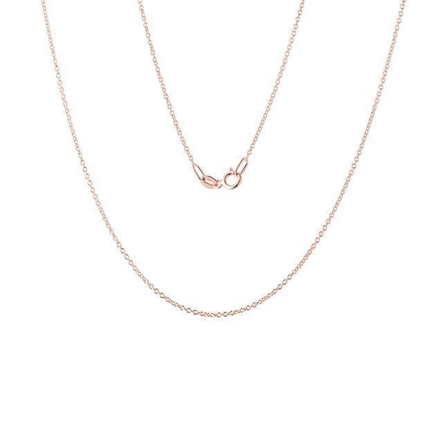 Ladies 50 cm rolo chain necklace in rose gold