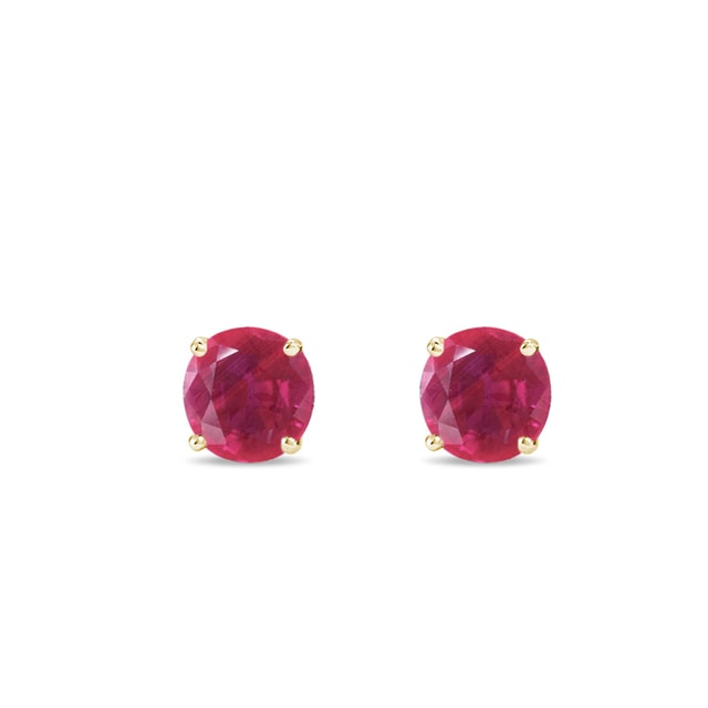 Ruby earrings in yellow gold
