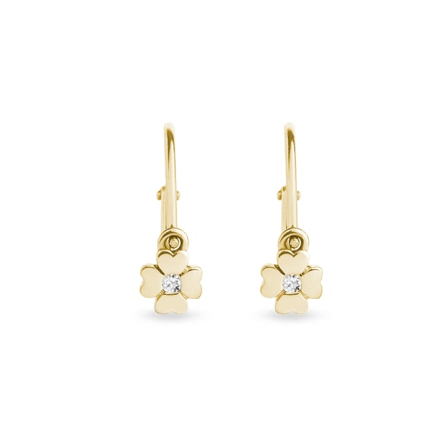 Diamond clover earrings for kids in 14kt gold