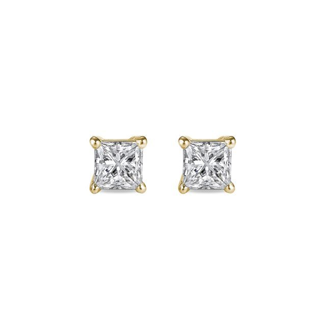 Princess cut diamond earrings in gold