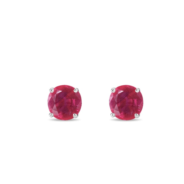 Ruby ​​stud earrings in white gold