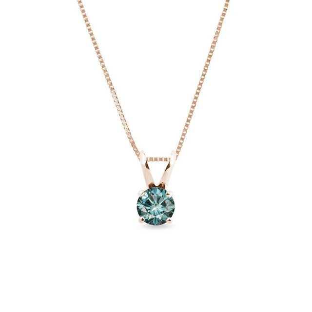 Blue diamond necklace in rose gold