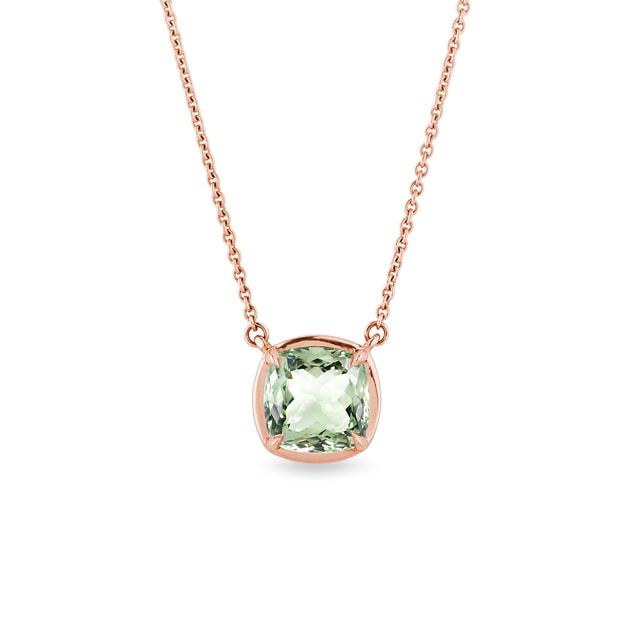 Green amethyst necklace in rose gold