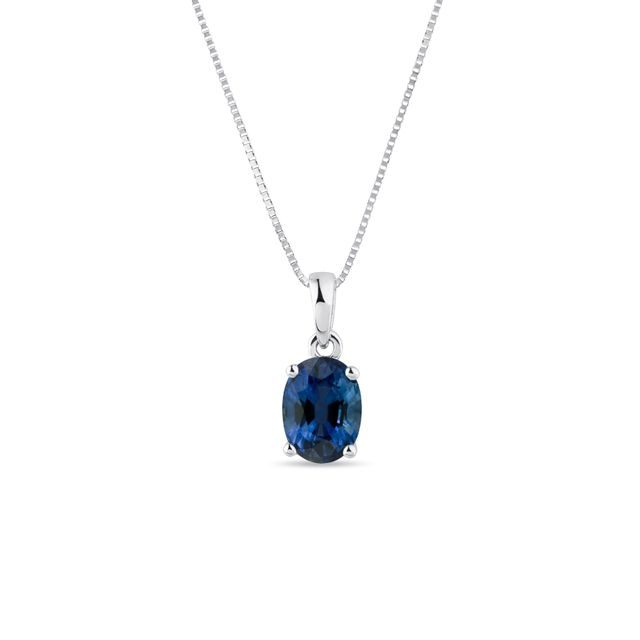 Oval sapphire necklace in white gold
