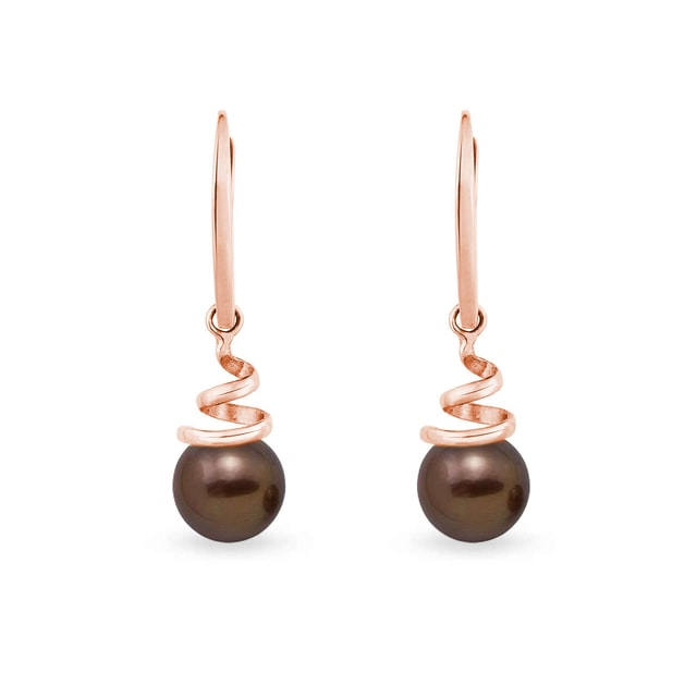 Brown pearl earrings in 14kt gold
