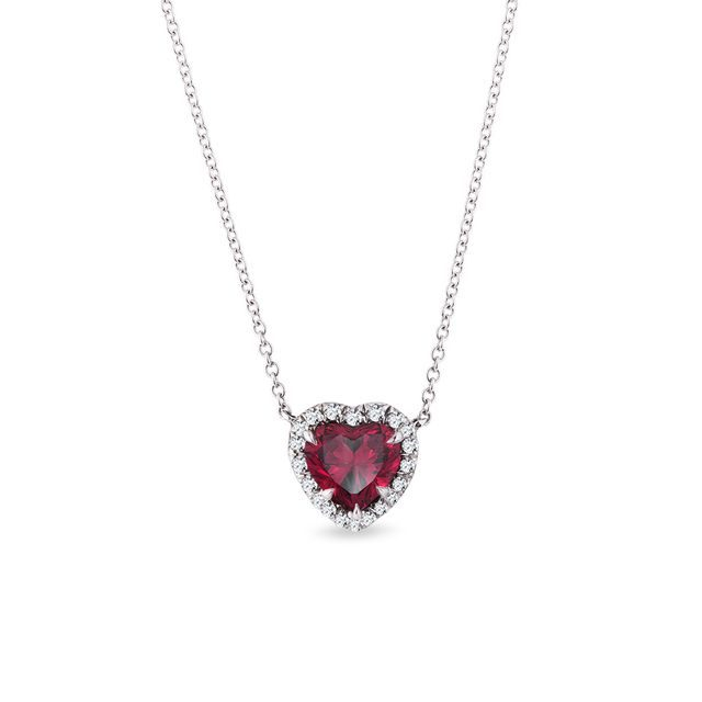 Tourmaline and diamond heart necklace in white gold