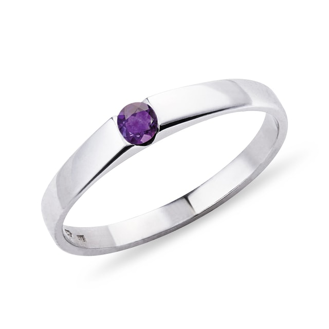 Amethyst ring in 14kt white gold