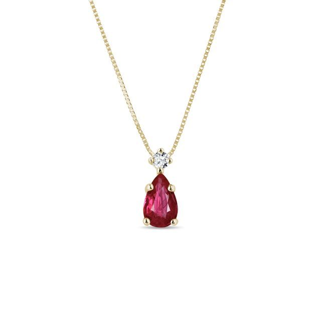 Ruby and diamond necklace in yellow gold