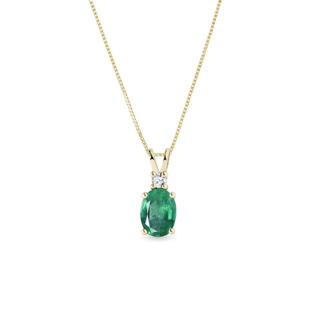 Emerald and diamond pendant in gold