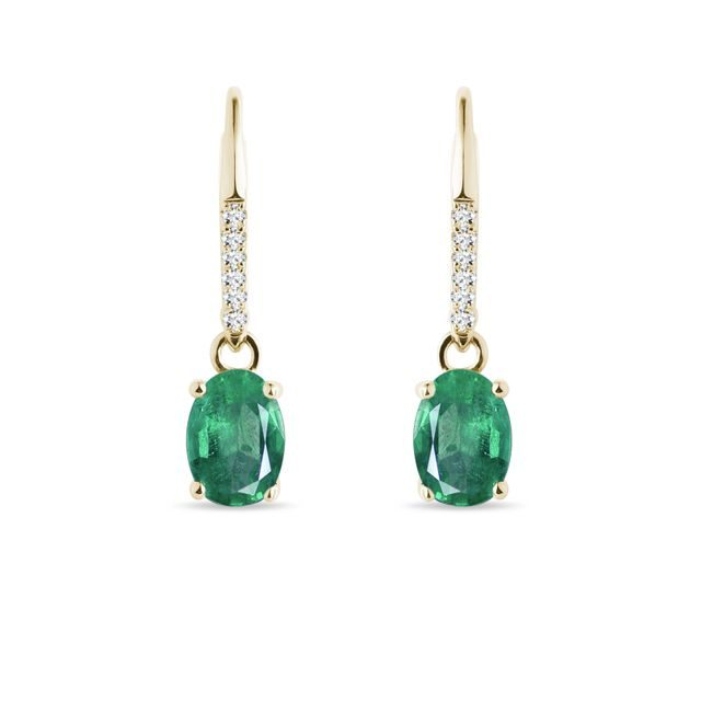 Emerald and diamond earrings in yellow gold