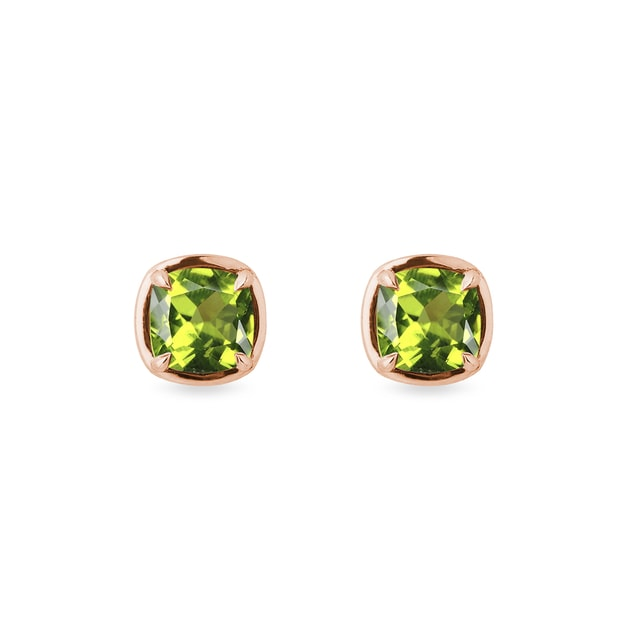 Peridot earrings in rose gold