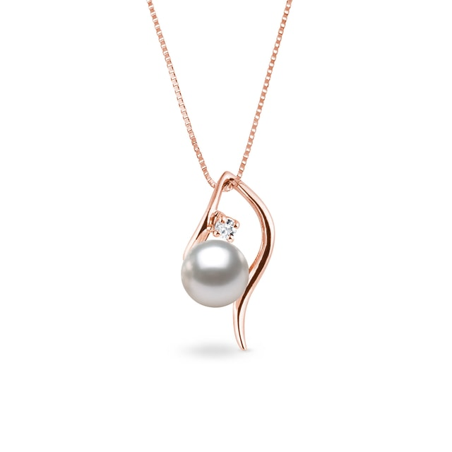 Akoya pearl and diamond necklace in rose gold