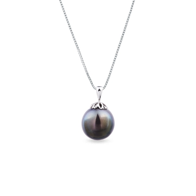 Tahitian pearl pendant in white gold
