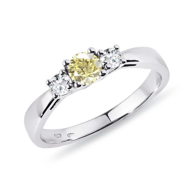 Yellow and white diamond ring in white gold