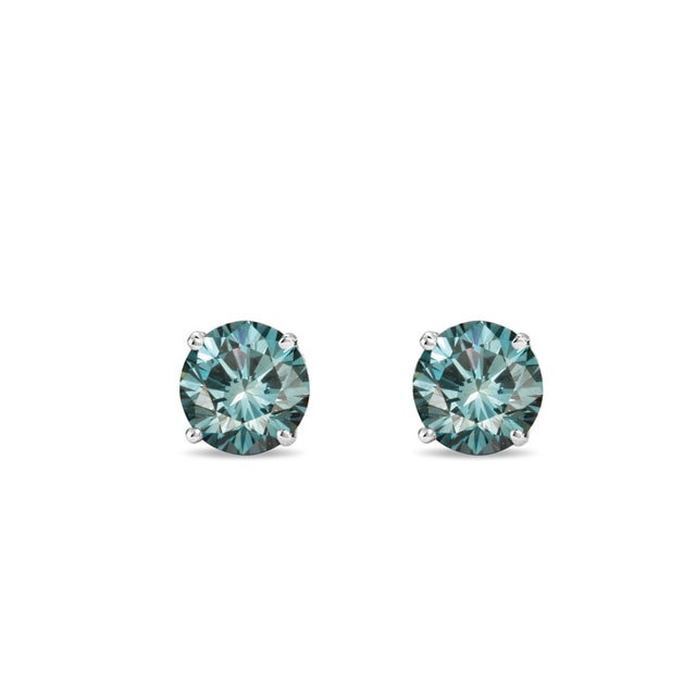 Blue diamond earrings in 14kt gold