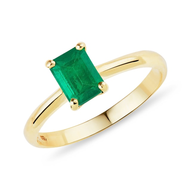 Smaragd Ring in Gelbgold