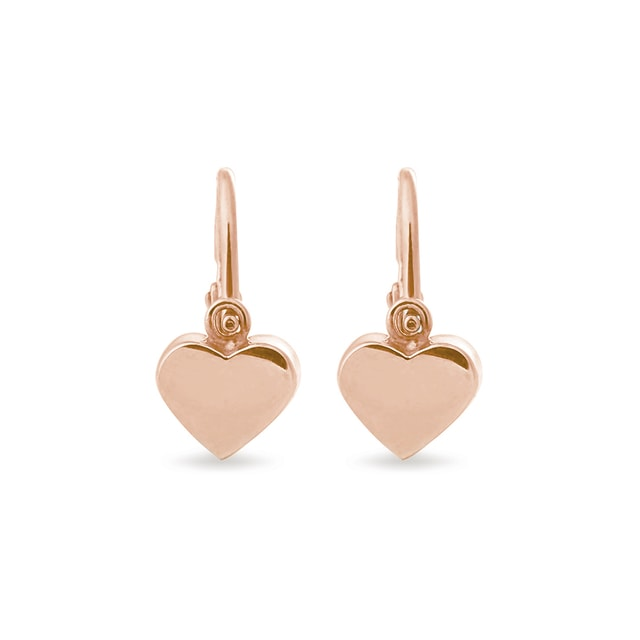 Heart-shaped rose gold earrings