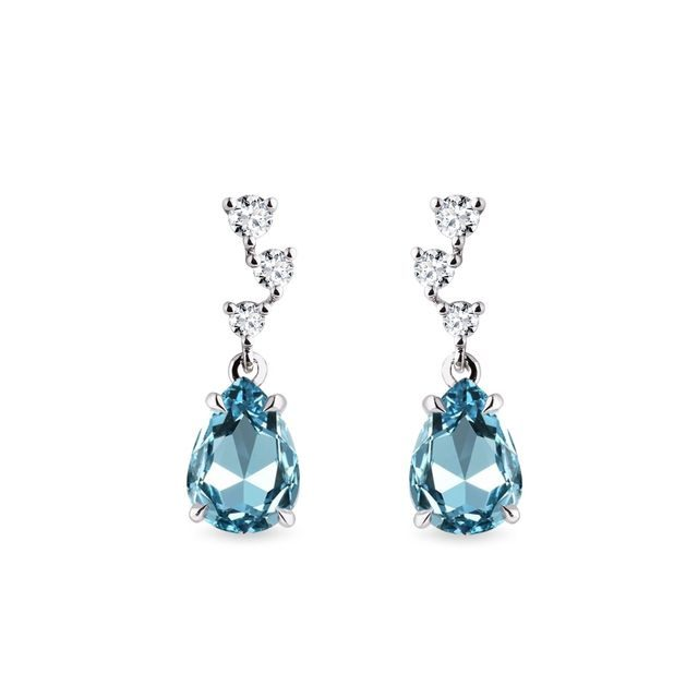 Swiss topaz and diamond earrings in white gold
