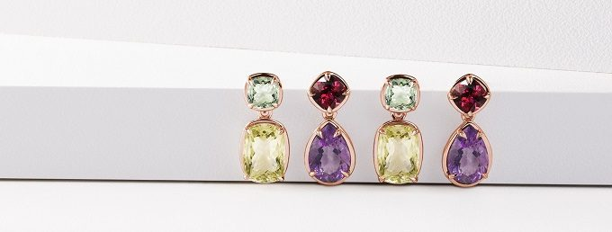 Colourful rose gold earrings with gemstones from Violet collection - KLENOTA