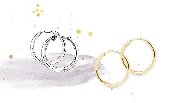 Earrings fastening, type hoops - KLENOTA