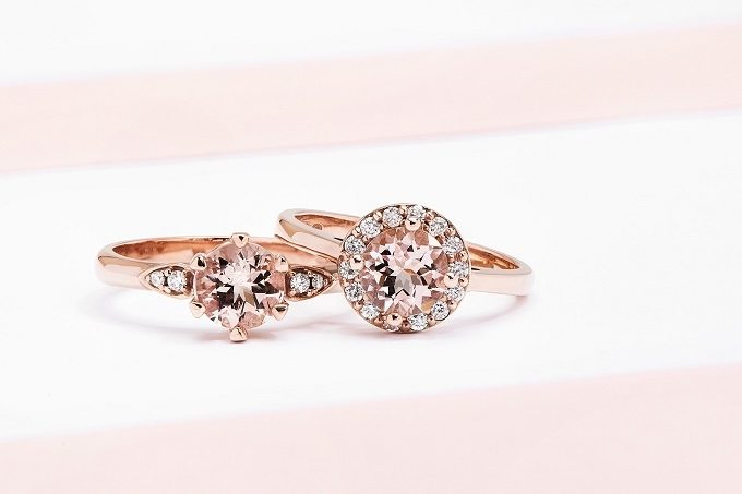 Bagues en or rose avec morganite et diamants - KLENOTA