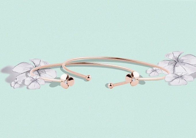 Bracelets en or rose avec ornement en forme de trèfle et diamant de la collection Yetel - KLENOTA