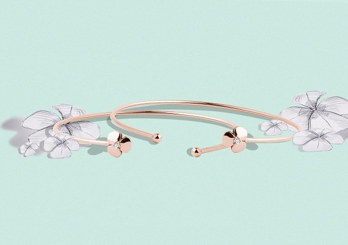 Yetel rose gold bracelets with shamrocks with a diamond - KLENOTA