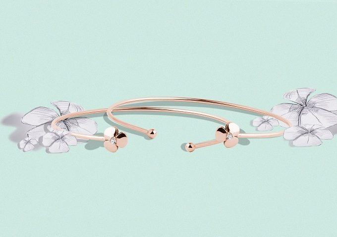 Yetel náramky s trojlístkem z růžového zlata s diamantem - KLENOTA